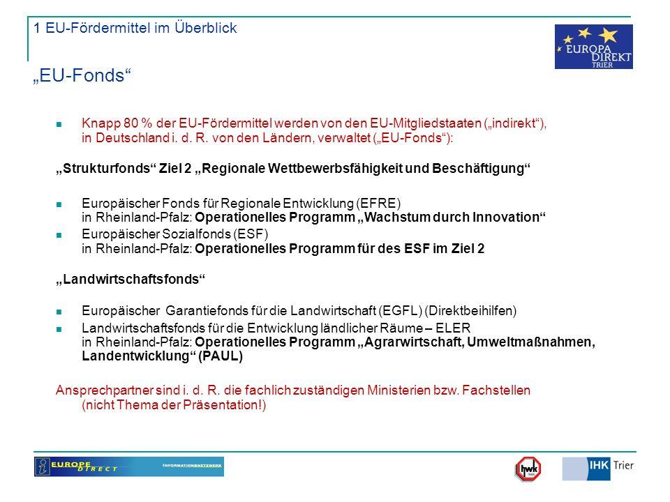 "1 EU-Fördermittel im Überblick ""EU-Fonds"