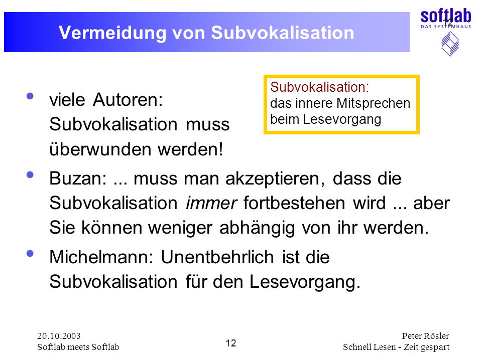 Vermeidung von Subvokalisation