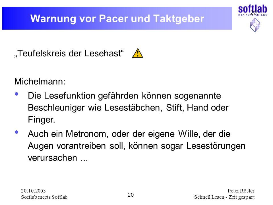 Warnung vor Pacer und Taktgeber