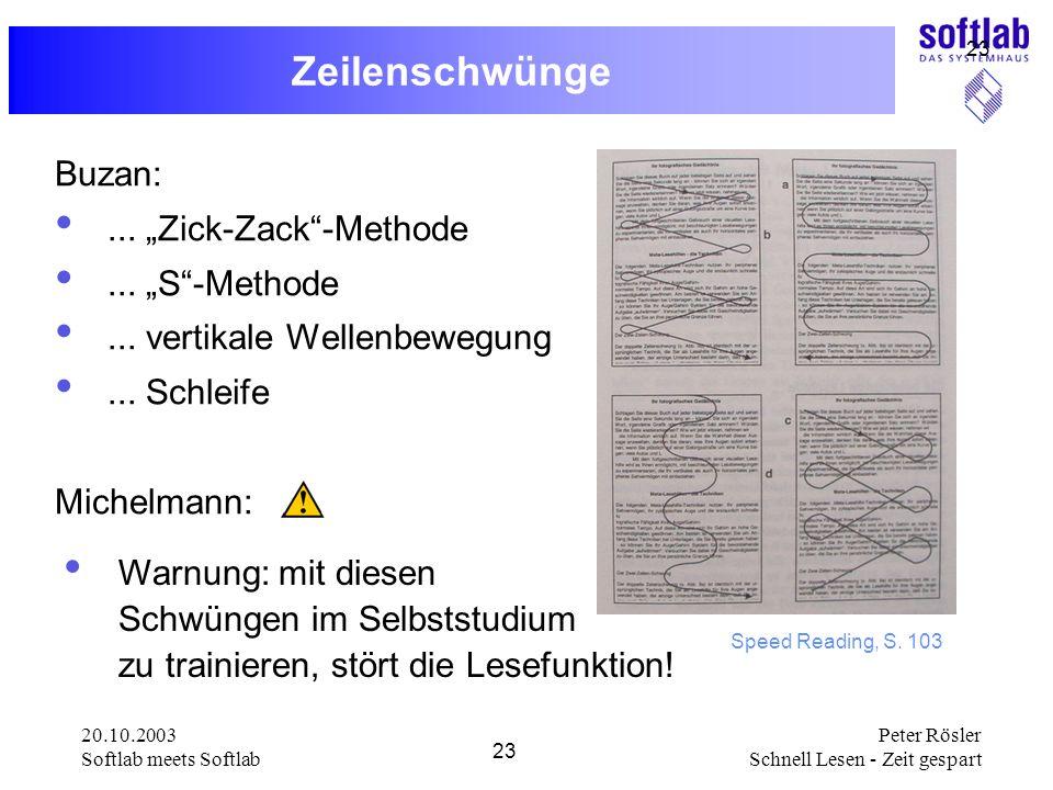 """Zeilenschwünge Buzan: ... """"Zick-Zack -Methode ... """"S -Methode"""