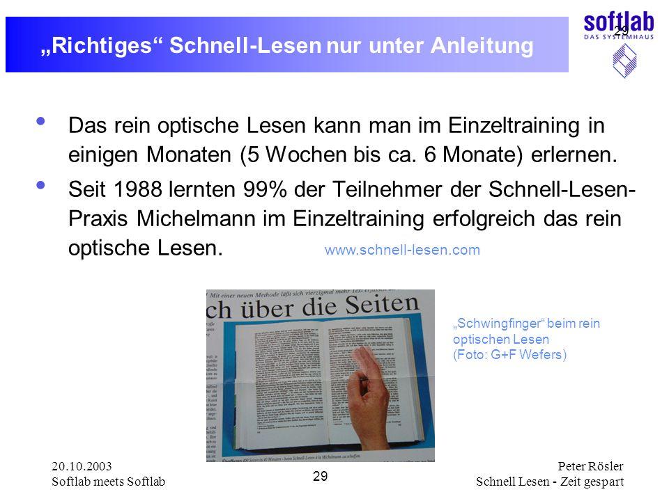 """""""Richtiges Schnell-Lesen nur unter Anleitung"""