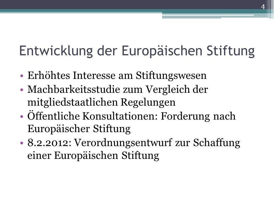 Entwicklung der Europäischen Stiftung