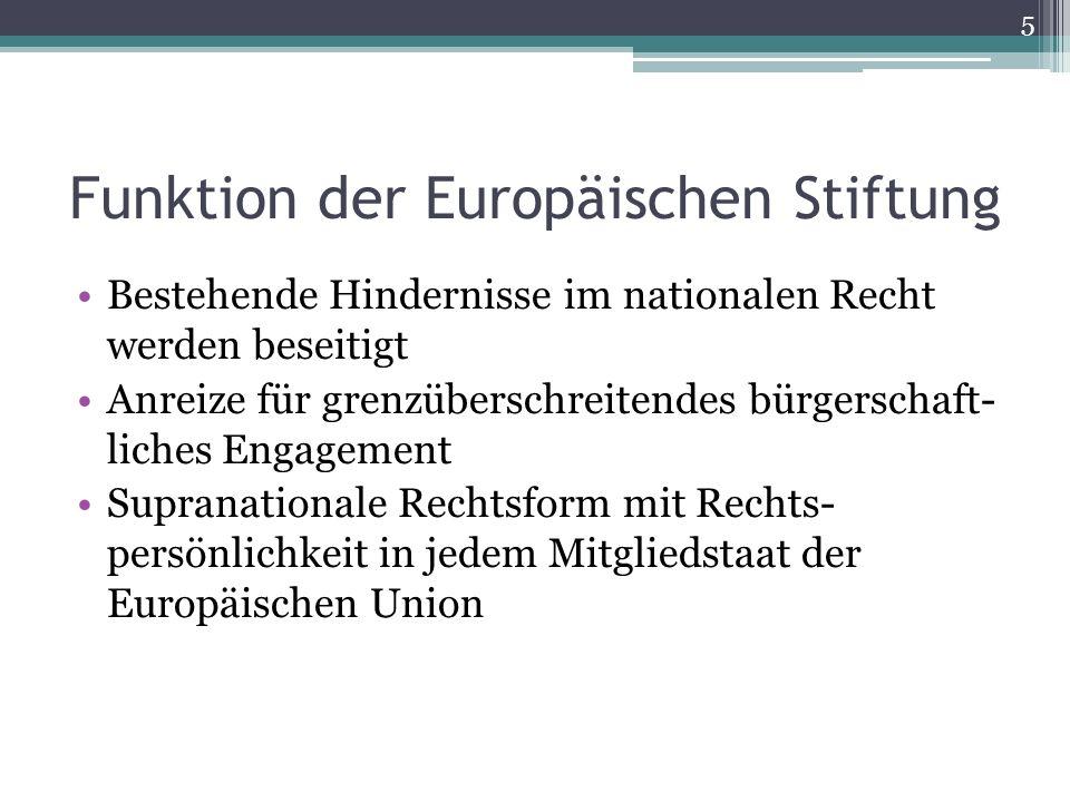 Funktion der Europäischen Stiftung
