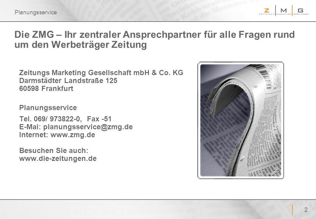 Planungsservice Die ZMG – Ihr zentraler Ansprechpartner für alle Fragen rund um den Werbeträger Zeitung.
