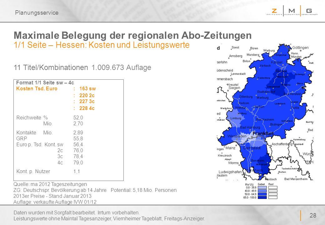 Planungsservice Maximale Belegung der regionalen Abo-Zeitungen 1/1 Seite – Hessen: Kosten und Leistungswerte.