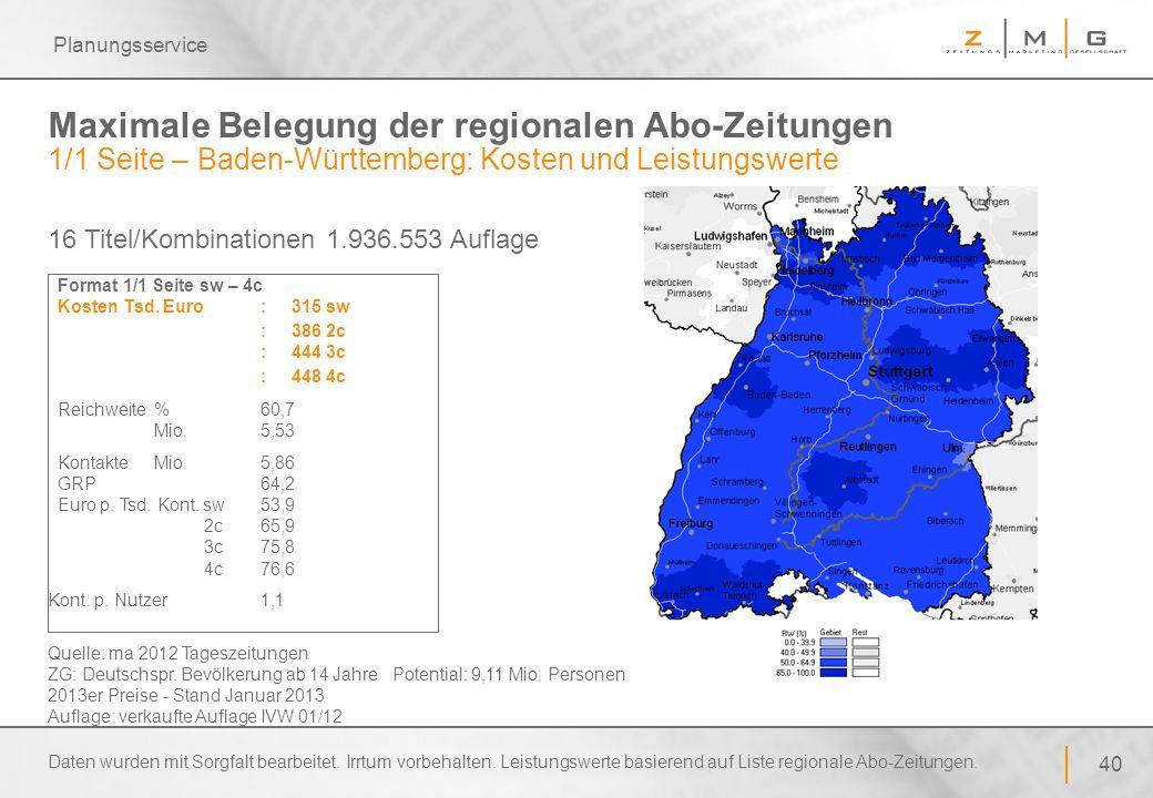 Planungsservice Maximale Belegung der regionalen Abo-Zeitungen 1/1 Seite – Baden-Württemberg: Kosten und Leistungswerte.