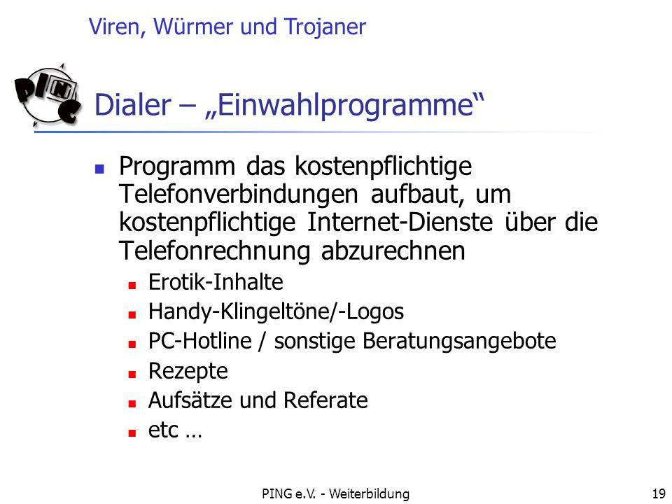 "Dialer – ""Einwahlprogramme"