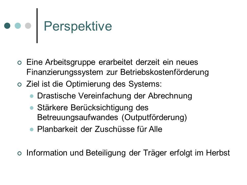 PerspektiveEine Arbeitsgruppe erarbeitet derzeit ein neues Finanzierungssystem zur Betriebskostenförderung.