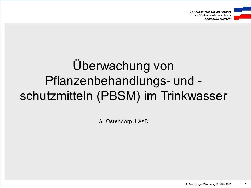 Überwachung von Pflanzenbehandlungs- und - schutzmitteln (PBSM) im Trinkwasser