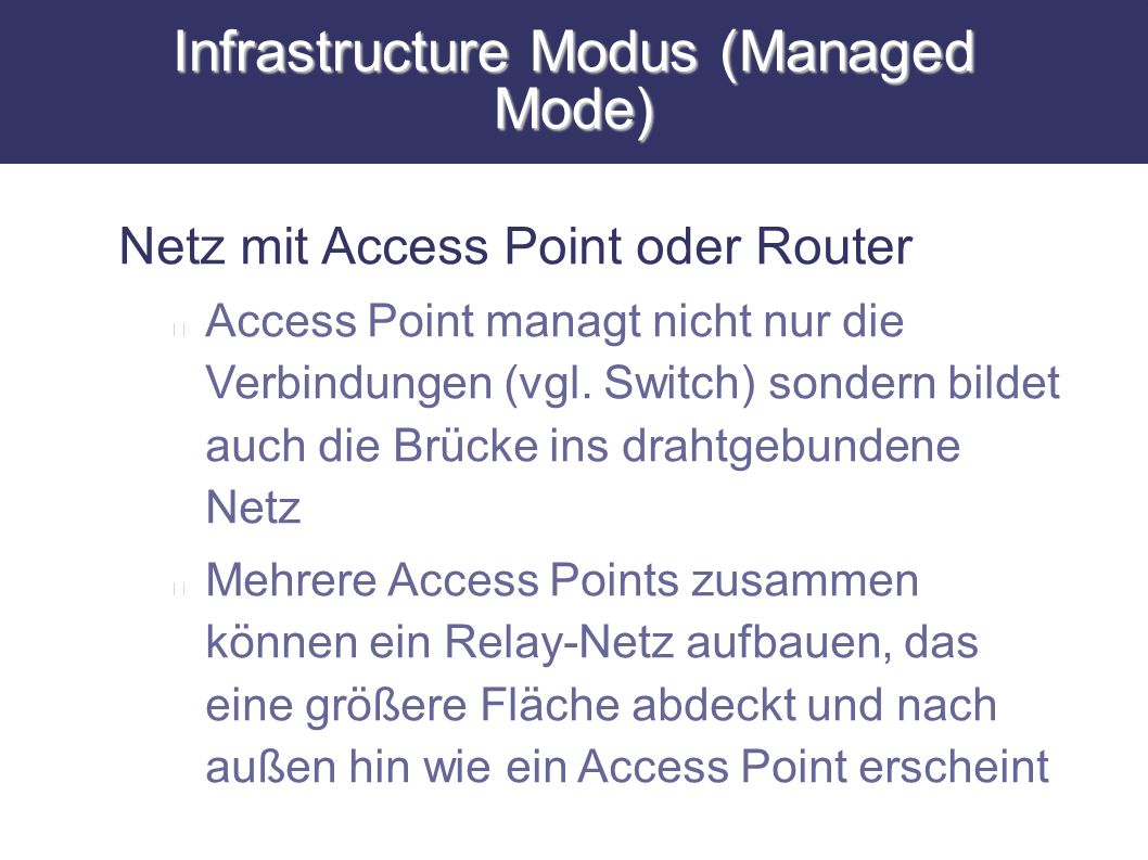 Infrastructure Modus (Managed Mode)