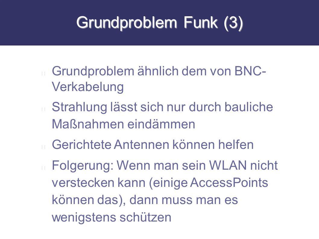 Grundproblem Funk (3) Grundproblem ähnlich dem von BNC- Verkabelung