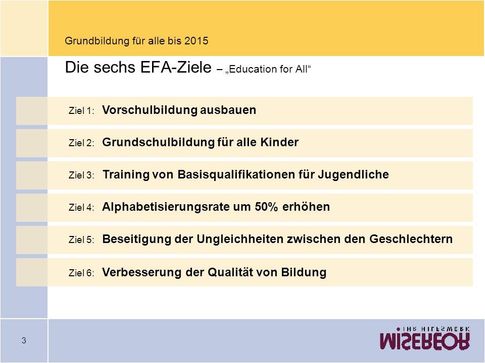 """Grundbildung für alle bis 2015 Die sechs EFA-Ziele – """"Education for All"""