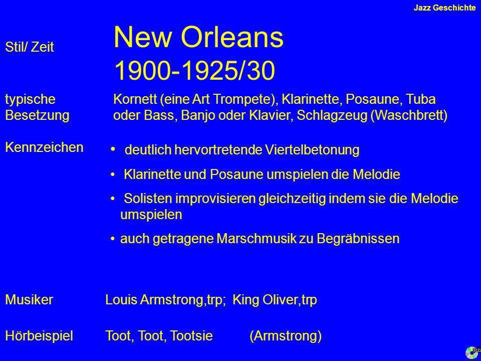 New Orleans 1900-1925/30 deutlich hervortretende Viertelbetonung