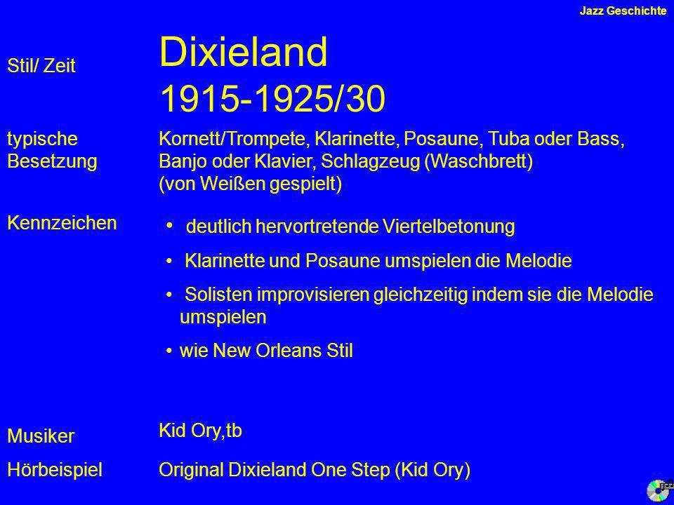 Dixieland 1915-1925/30 deutlich hervortretende Viertelbetonung
