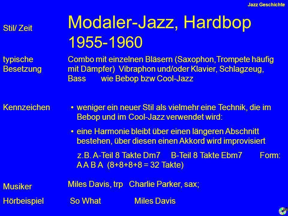 Modaler-Jazz, Hardbop 1955-1960