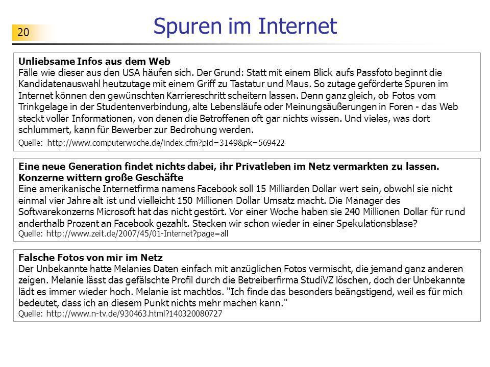 Spuren im Internet Unliebsame Infos aus dem Web