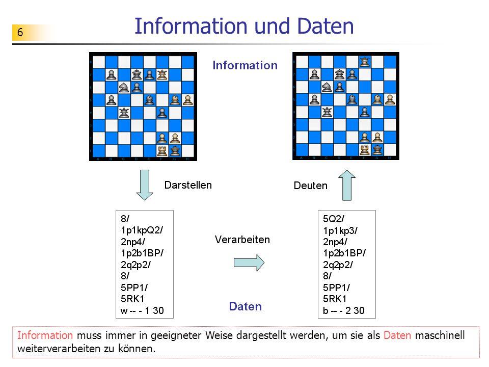 Information und DatenInformation muss immer in geeigneter Weise dargestellt werden, um sie als Daten maschinell weiterverarbeiten zu können.