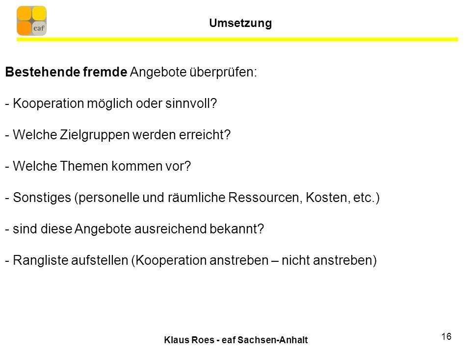 Klaus Roes - eaf Sachsen-Anhalt