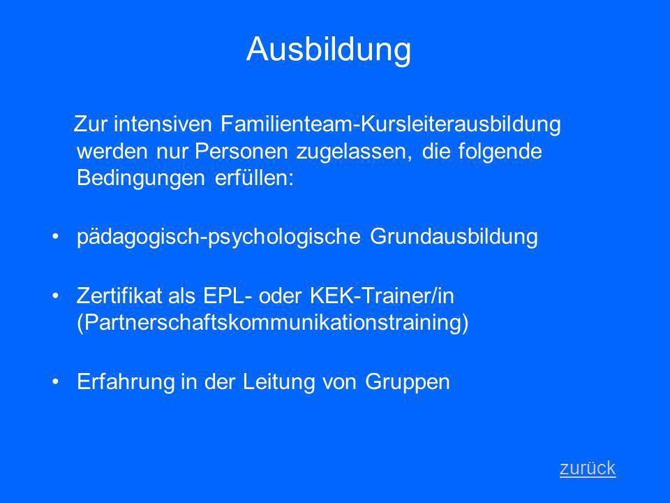 Ausbildung Zur intensiven Familienteam-Kursleiterausbildung werden nur Personen zugelassen, die folgende Bedingungen erfüllen: