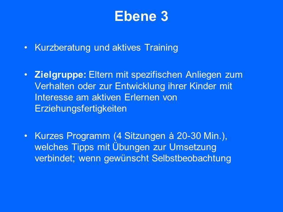Ebene 3 Kurzberatung und aktives Training