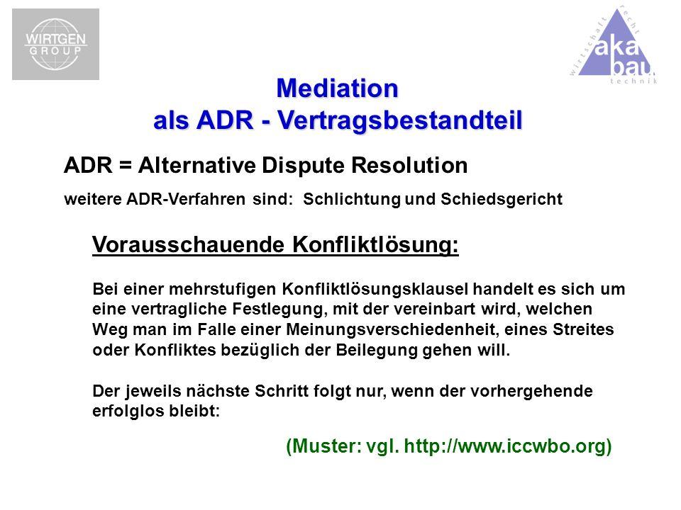 Mediation als ADR - Vertragsbestandteil
