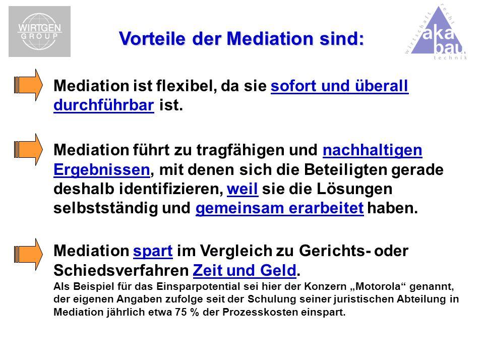 Vorteile der Mediation sind: