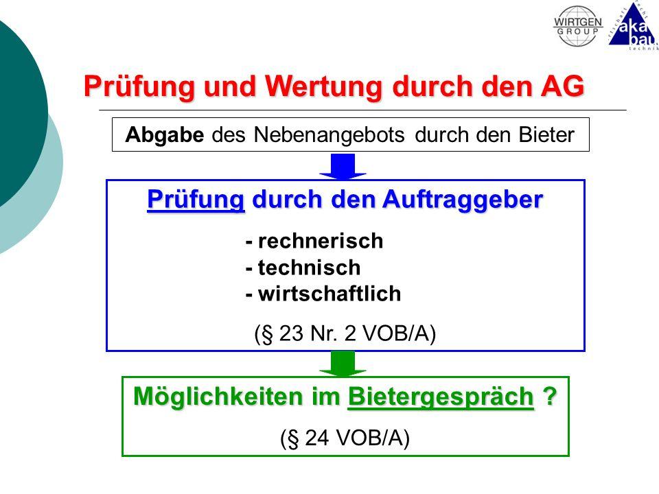 Prüfung und Wertung durch den AG