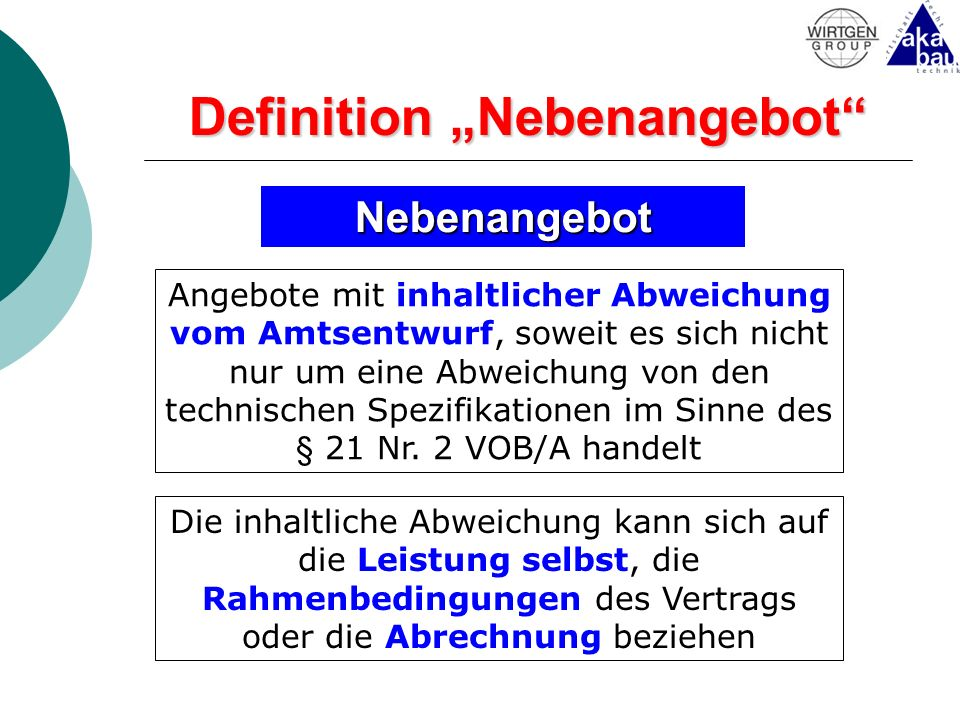 "Definition ""Nebenangebot"