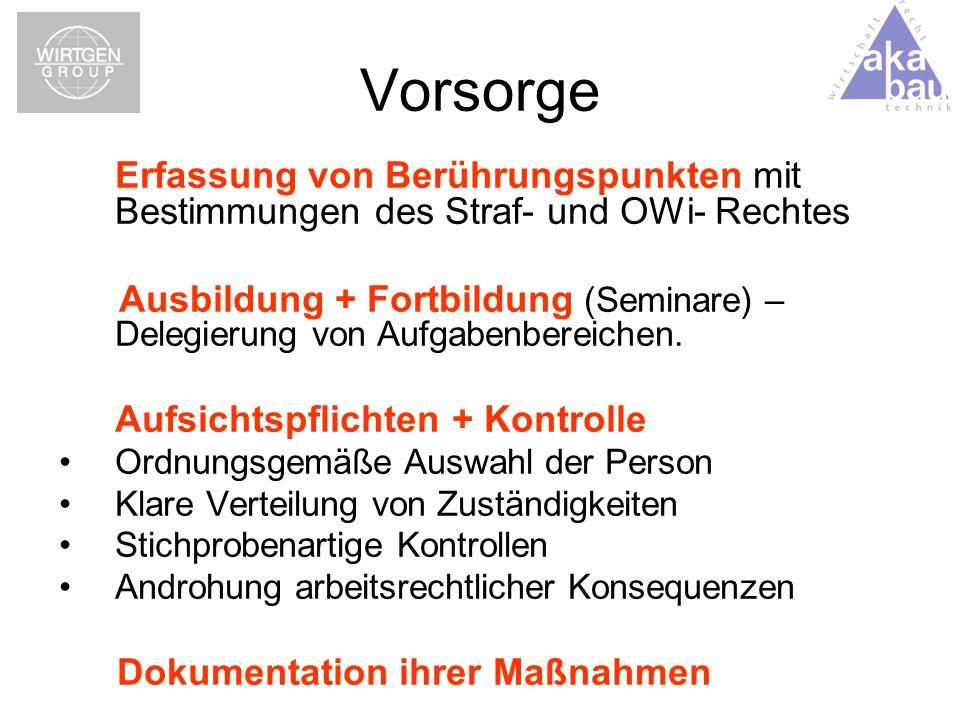 Vorsorge Erfassung von Berührungspunkten mit Bestimmungen des Straf- und OWi- Rechtes.