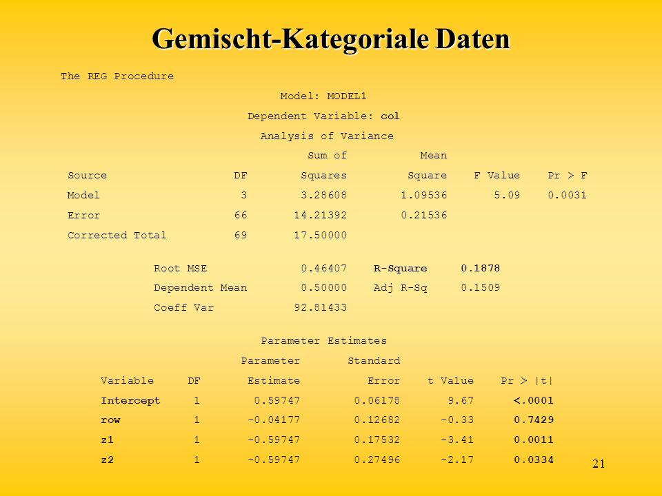 Gemischt-Kategoriale Daten