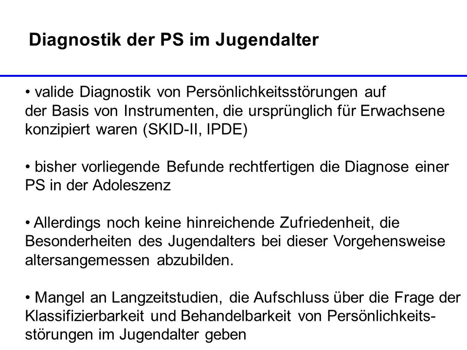 Diagnostik der PS im Jugendalter