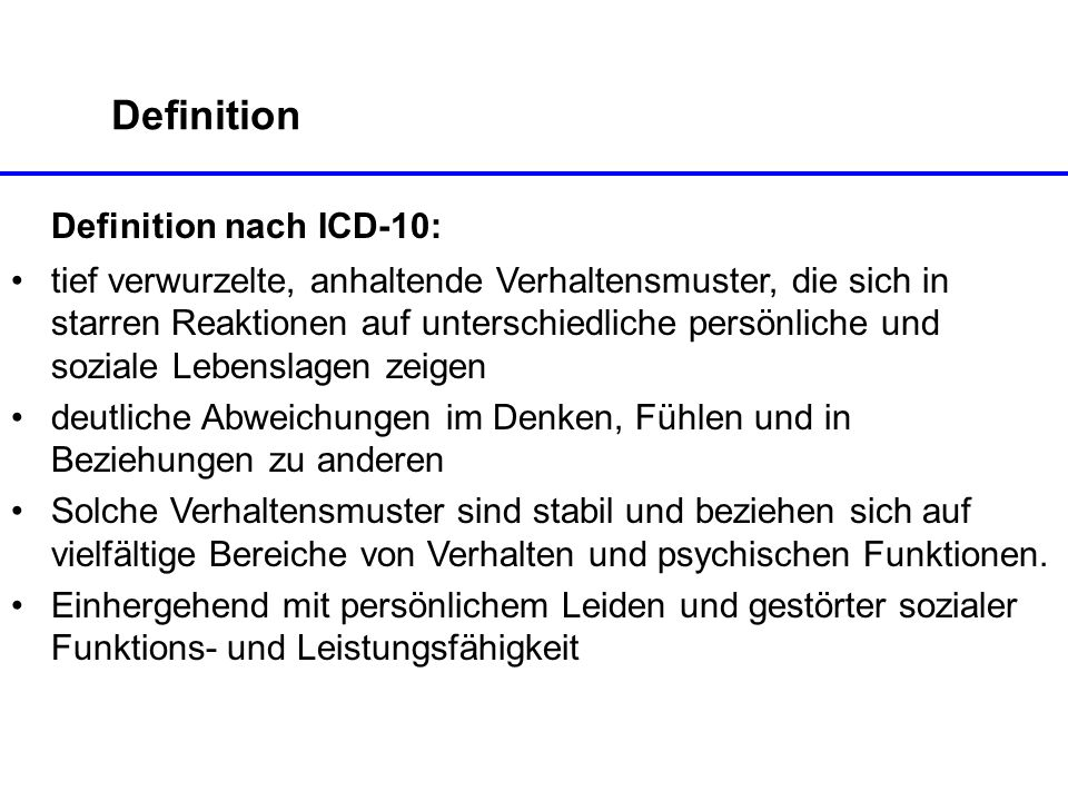 Definition nach ICD-10: Definition