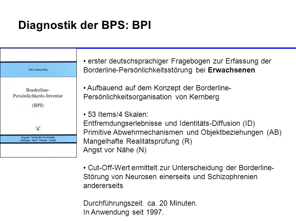 Diagnostik der BPS: BPI