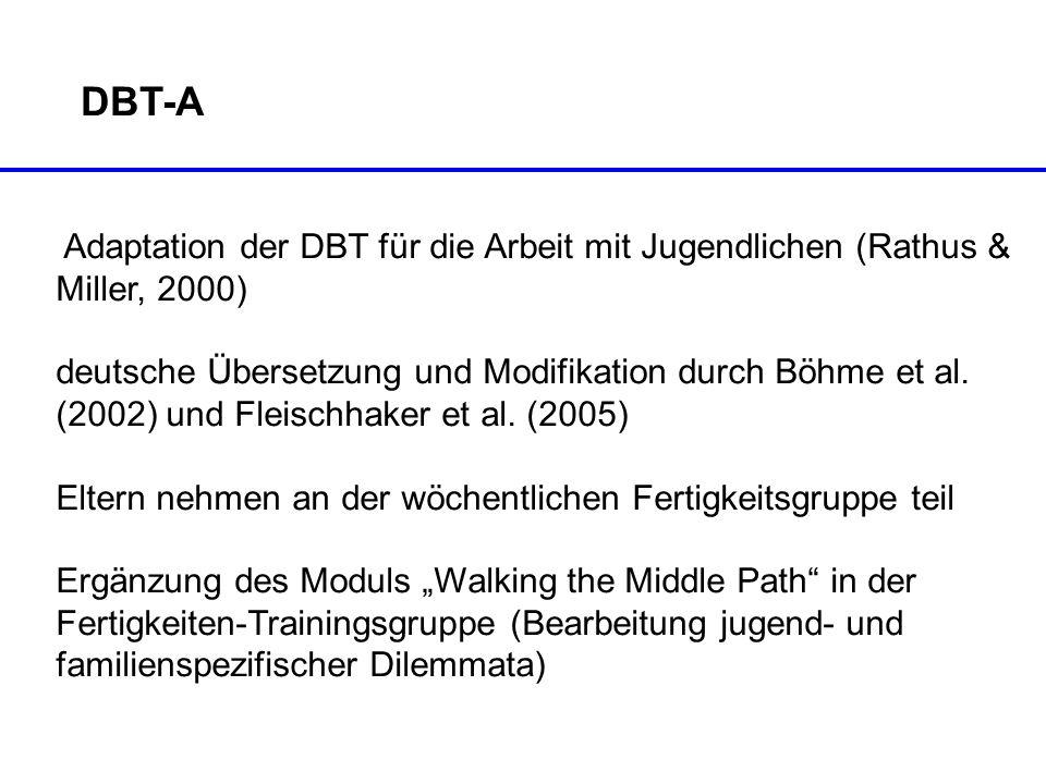 DBT-A Adaptation der DBT für die Arbeit mit Jugendlichen (Rathus & Miller, 2000)