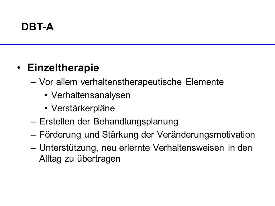 DBT-A Einzeltherapie Vor allem verhaltenstherapeutische Elemente
