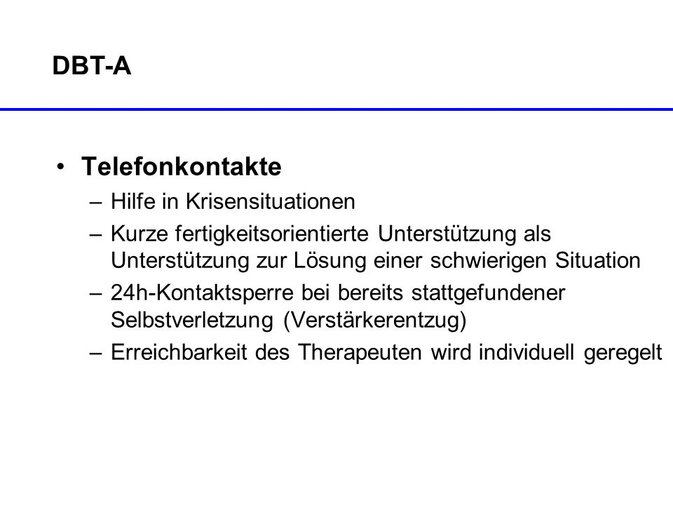 DBT-A Telefonkontakte Hilfe in Krisensituationen