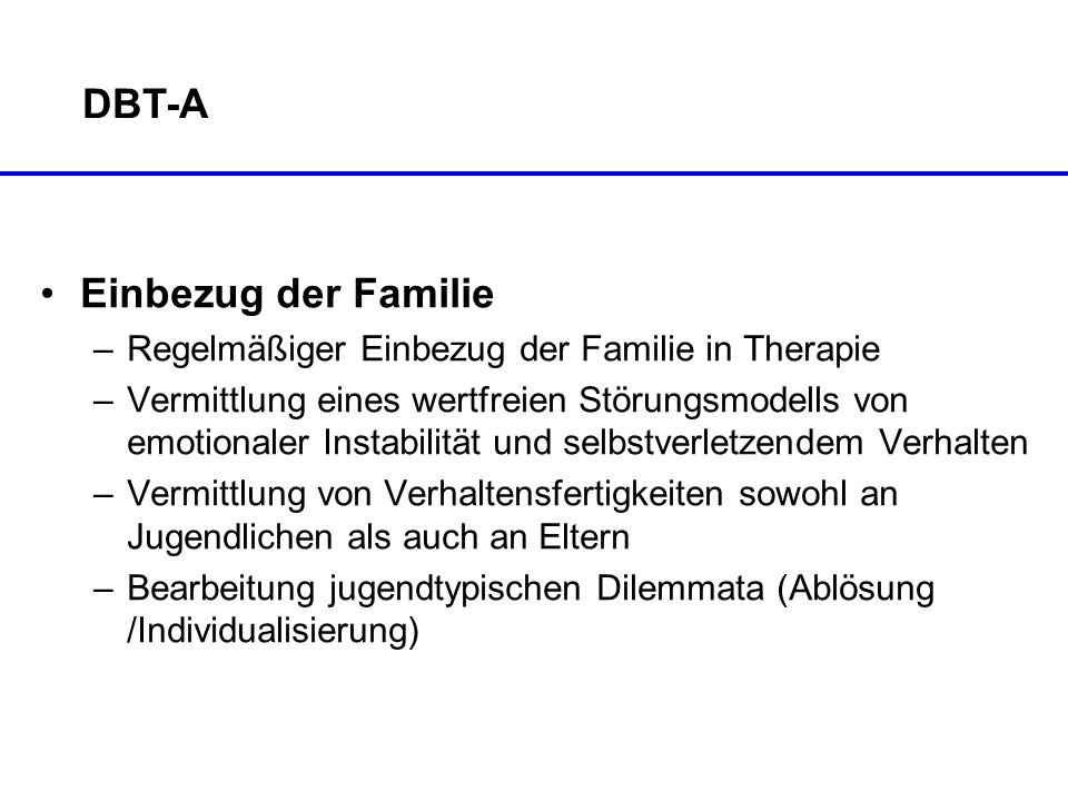 DBT-A Einbezug der Familie