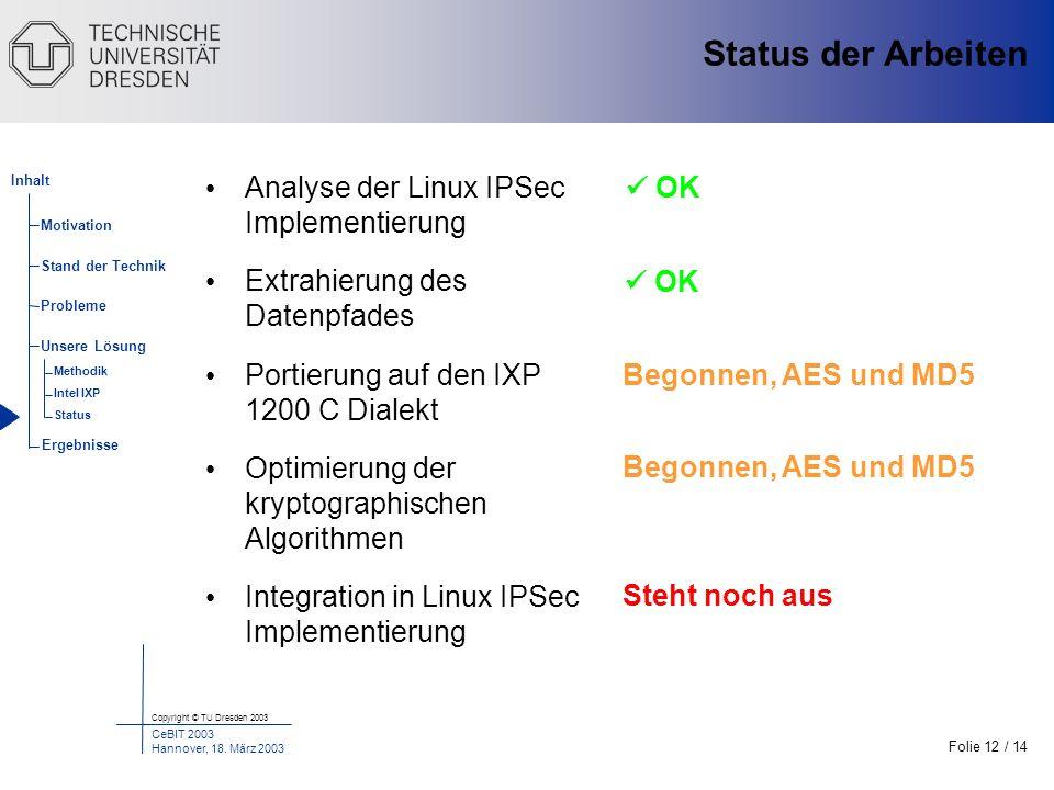 Status der Arbeiten Analyse der Linux IPSec Implementierung