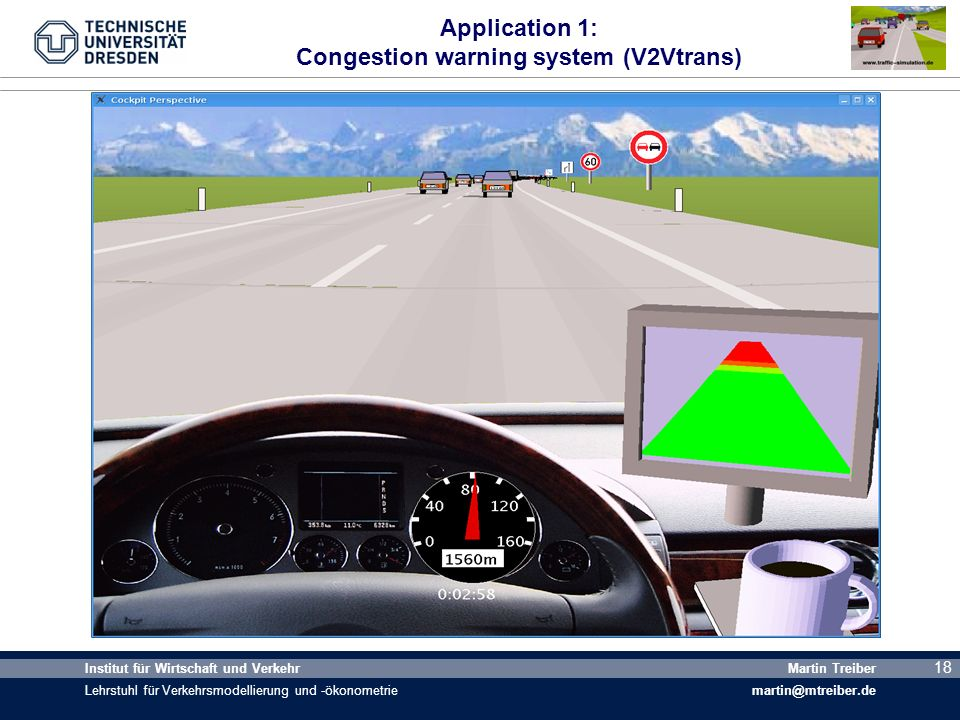 Application 1: Congestion warning system (V2Vtrans)