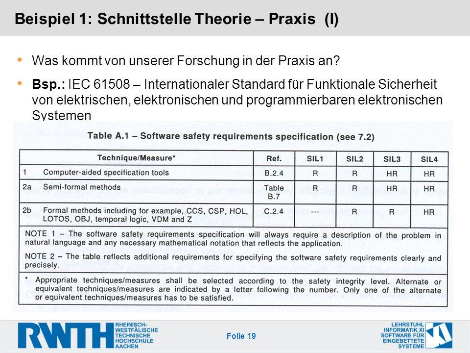 Beispiel 1: Schnittstelle Theorie – Praxis (I)