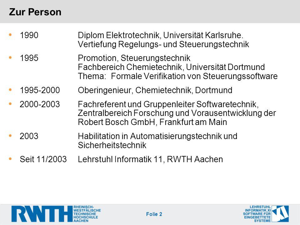 Zur Person 1990 Diplom Elektrotechnik, Universität Karlsruhe. Vertiefung Regelungs- und Steuerungstechnik.