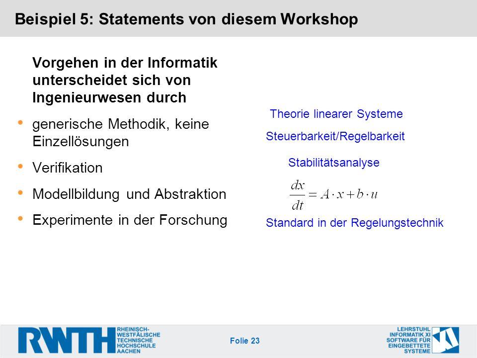 Beispiel 5: Statements von diesem Workshop