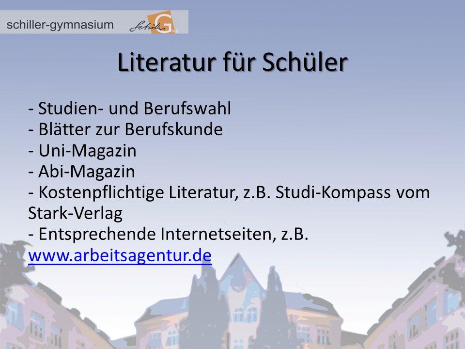 Literatur für Schüler - Studien- und Berufswahl
