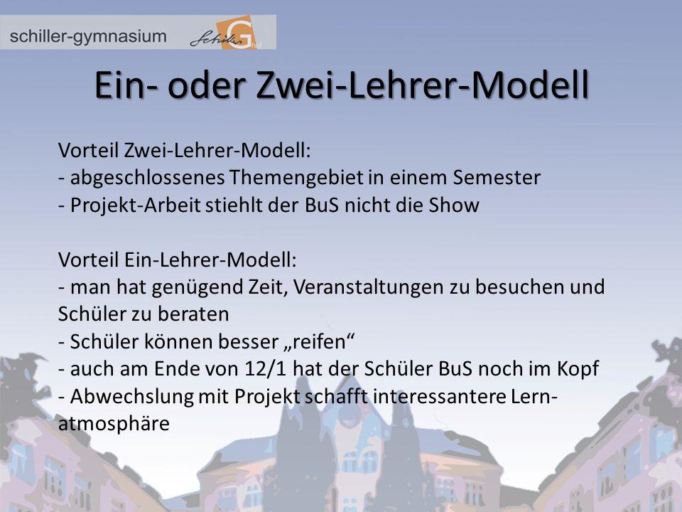 Ein- oder Zwei-Lehrer-Modell
