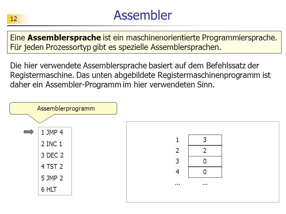 Assembler Eine Assemblersprache ist ein maschinenorientierte Programmiersprache. Für jeden Prozessortyp gibt es spezielle Assemblersprachen.