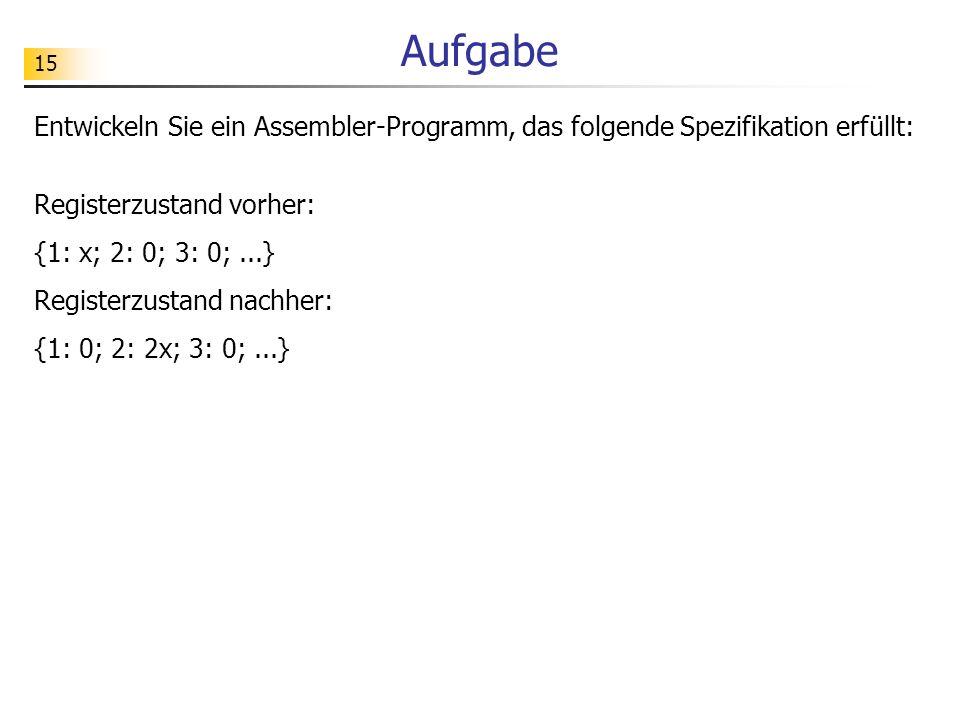 Aufgabe Entwickeln Sie ein Assembler-Programm, das folgende Spezifikation erfüllt: Registerzustand vorher: