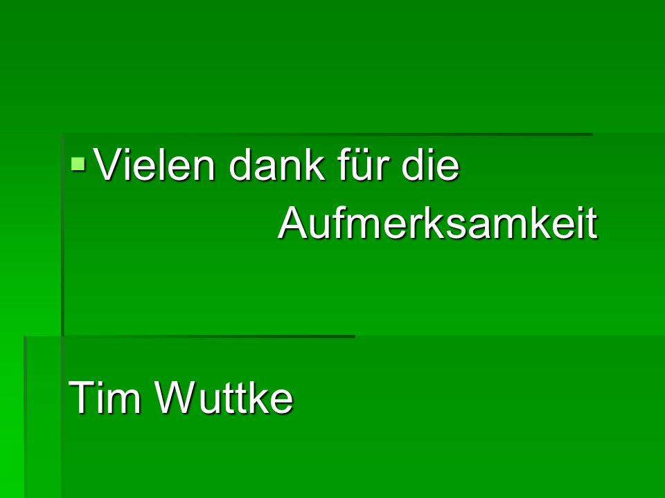 Vielen dank für die Aufmerksamkeit Tim Wuttke