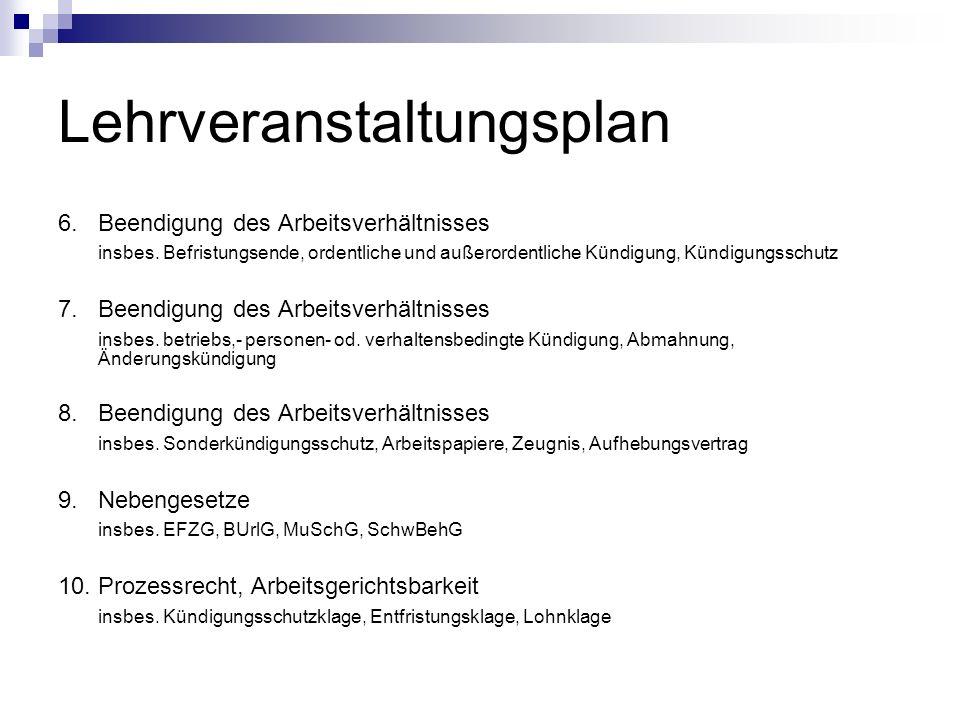 Lehrveranstaltungsplan