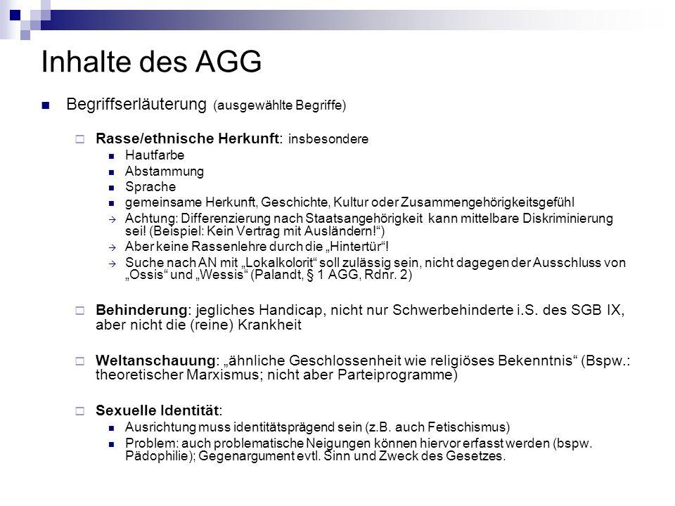 Inhalte des AGG Begriffserläuterung (ausgewählte Begriffe)