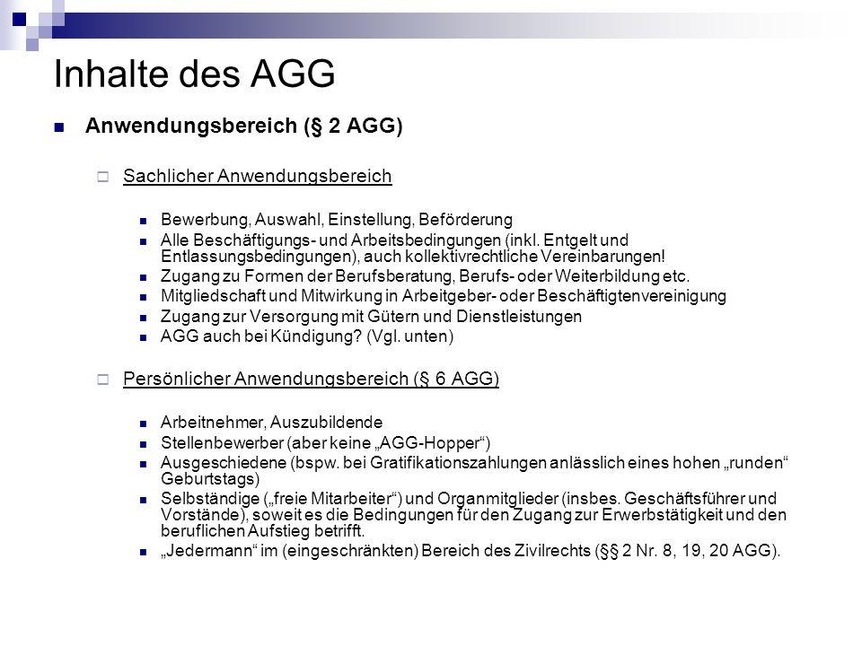 Inhalte des AGG Anwendungsbereich (§ 2 AGG)